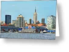 Ny Skyline And Chelsea Piers Greeting Card