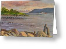 Ny Skyline And Gwb From Hastings On Hudson Greeting Card