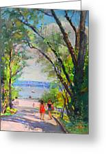 Nyack Park A Beautiful Day For A Walk Greeting Card by Ylli Haruni