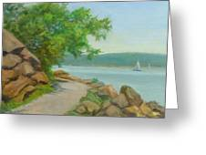 Nyack Trail Along The Hudson Greeting Card