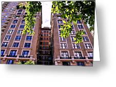 Nyc Building With Tree Overhang Greeting Card