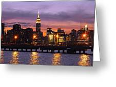 Sunset City Lights Greeting Card
