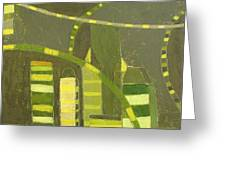 Nyc In Deep Green Greeting Card