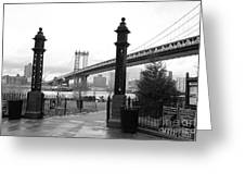 Nyc Manhattan Bridge Bw Greeting Card
