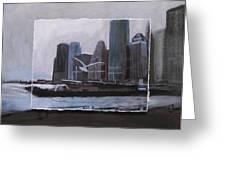 Nyc Pier 11 Layered Greeting Card by Anita Burgermeister