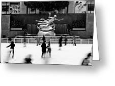 Nyc Rockefellar Iceskating Greeting Card by Nina Papiorek