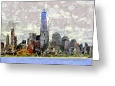 Nyc Skyline Digital Painting  Greeting Card
