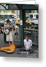 Nyc Street Musicians Banjo Greeting Card