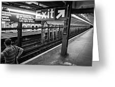 Nyc Subway At Night Greeting Card by Ranjay Mitra