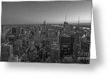 Nyc Sunset Bw Greeting Card