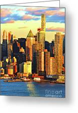 Nyc West Side In Gold And Blue  Greeting Card