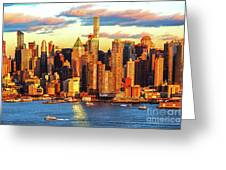 Nyc West Side Skyscrapers At Sundown Greeting Card