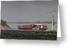 Nyl Line Container Ship By Bay Bridge In San Francisco, California Greeting Card