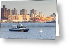 Nypd Patrol Boat In East River Greeting Card