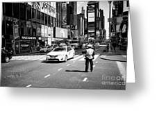 nypd traffic cop on Times Square New York City USA Greeting Card