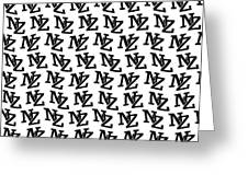 Nz New Zealand Black On White Greeting Card