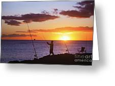 Oahu Fisherman Greeting Card