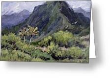 Oahu Valley Greeting Card by L Diane Johnson