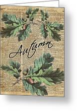Oak Tree Leaves And Acorns, Autumn Dictionary Art Greeting Card