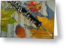 Oboe And Sheet Music On Autumn Afternoon Greeting Card