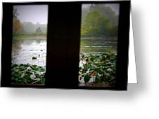 Observation Deck On A Misty Lake  Greeting Card