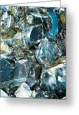 Obsidian In Newberry National Volcanic Monument, Oregon  Greeting Card