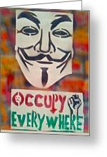 Occupy Mask Greeting Card by Tony B Conscious