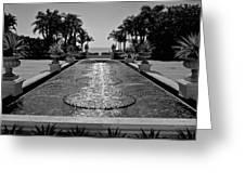 Ocean Behind Fountain Greeting Card