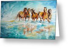 Ocean Breeze Wild Horses Greeting Card