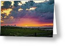 Ocean City Cloudy Sunrise Greeting Card