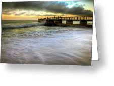 Ocean Fishing Pier Sunrise Greeting Card