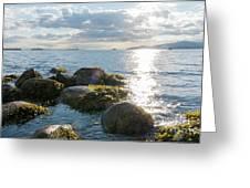 Ocean Flickering Under Sunset Greeting Card