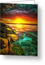 Ocean Lit In Ambiance Greeting Card