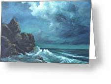 Seascape And Moonlight An Ocean Scene Greeting Card by Katalin Luczay