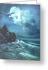Seascape And Moonlight An Ocean Scene Greeting Card