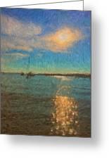Ocean Sun Path At Boothbay Harbor Greeting Card