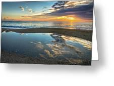 Ocean Sunrise Reflection Greeting Card