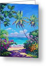 Ocean View With Breadfruit Tree Greeting Card