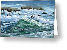Ocean Waves And Pelicans Greeting Card