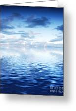 Ocean With Calm Waves Background With Dramatic Sky Greeting Card