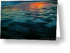 Oceanside Reflective Sunset Greeting Card