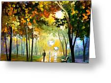 October Reflections - Palette Knife Oil Painting On Canvas By Leonid Afremov Greeting Card