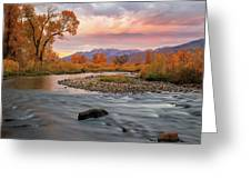 October Sunrise At The Provo River. Greeting Card