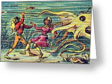 Octopus Attack, 1900s French Postcard Greeting Card