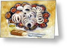 Octupus And Sea Urchins Dinner Greeting Card