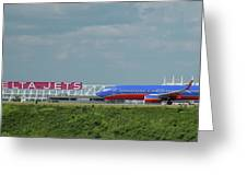 Odd Couple Delta Airlines Southwest Airlines Art Greeting Card