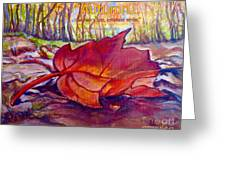 Ode To A Fallen Leaf Painting With Quote Greeting Card