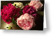 Off Center Peonies Greeting Card