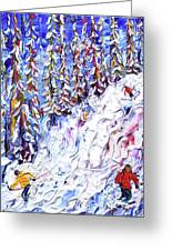 Off Piste In The Woods Above Morzine Greeting Card