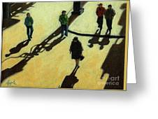 Off To Work Shadows - Painting Greeting Card